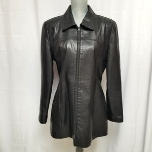 Danier Genuine Leather Fitted Jacket Black L